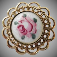 Vintage porcelain filigree brooch featuring a pink Rose mid century nice!