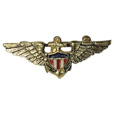 Patriotic World War 2 Sweetheart brooch/pin US Navy Aviator Pilot Wings - 1940's
