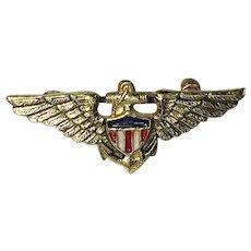 Patriotic World War 2 Sweetheart brooch/pin US Navy Aviator Pilot Wings - 1940's