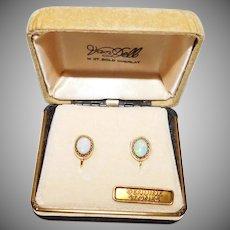 Vintage 14K Gold Overlay Screw Back Earrings Genuine Opal Stones Van Dell Company