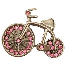 Vintage Art Deco style silver tone Bicycle with pink rhinestones figural brooch Fun!