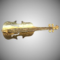Cute Large size gold color Violin pin