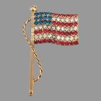 Patriotic U.S. Flag brooch - Red White & Blue Rhinestones