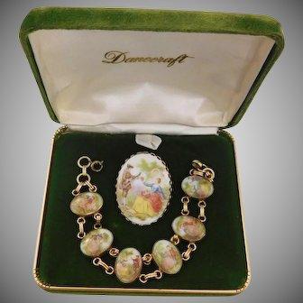 Beautiful porcelain brooch and bracelet set depicting Victorian lovers 12K GF Bracelet Bojar Jewelry Company 1950-60