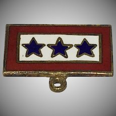Patriotic World War 2 Sweetheart brooch/pin Son in Service Three Blue Stars - 1940's