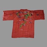 Handmade Japanese Kimono Haori Happi coat featuring a beautiful embroidered Dragon