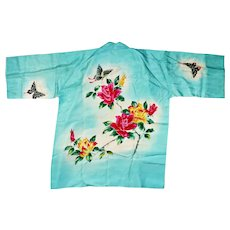 Handmade Japanese Kimono Haori Happi coat featuring a beautiful hand-painted butterflies roses