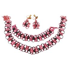 Unique Prototype WWII Era pink and black colored matching Chunky Aluminum necklace, bracelet & earring set 1940's - Red Tag Sale Item