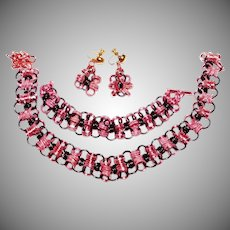 Unique Prototype WWII Era pink and black colored matching Chunky Aluminum necklace, bracelet & earring set 1940's