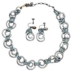 Unique Prototype WWII Era silver colored matching Chunky Aluminum necklace & earring set 1940's