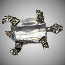 Vintage Turtle with large cut glass belly stone  & Rhinestone  brooch 1950's