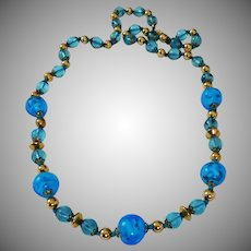 Vintage Art Glass bead necklace blue & metallic gold glass 1960's