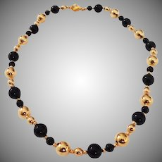 Vintage ebony & gold color bead necklace 1970's