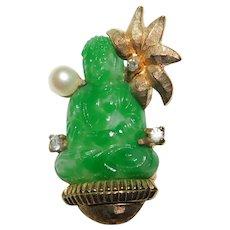 "Wonderful ""Peking Glass"" bejeweled Sitting Buddha Brooch/Pin – Hallmarked JOMAZ Joseph Mazer faux jade color Nice!"