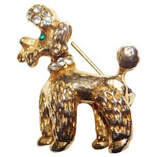 Classic Glittering French Poodle brooch sparkly rhinestones 1960's Cute!