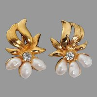 Vintage 1980's Avon clip style earrings with cultured pearls and simulated diamond rhinestone