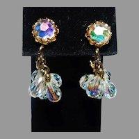 Vintage Aurora Borealis Crystal Dangle clip style & screw back earring Vendome Company 1970's