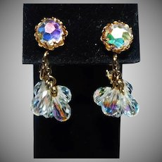 Vintage Aurora Borealis Crystal Dangle clip style & screw back earring Vendome Company 1970's