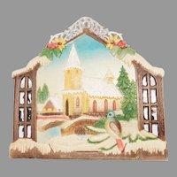 Vintage Wintery scene Snow Covered Church & Birds Calendar top Czechoslovakia 1920's