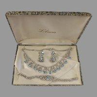 Vintage L'Amour Necklace, Bracelet, & Earrings blue rhinestones set Nice
