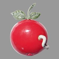 Vintage for Teacher! Big Red Apple brooch with snake trembler cute! – Coro Jewelry 1960's