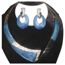 Modernist blue Lucite necklace and pierced earring set, Trifari Company designer Kunio Matsumoto 1970s