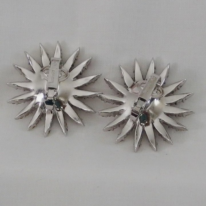 2844da989eb78 Fireworks clip style earring set with sparkly white Diamante rhinestones  Star-flight jewelry Series Alfred Philippe Trifari 1966
