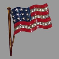 Patriotic Stars & Stripes US Flag brooch/pin World War II – Alfred Philippe designer Trifari Company 1940