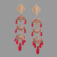Beautiful extra Long Red & Gold Plated 4 ¼ inch Shoulder Dusters Earrings Trifari Company 1950's
