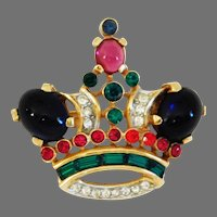 """Vintage Royal """"Queen Crown"""" brooch Designed by Alfred Philippe Trifari Company 1950's"""