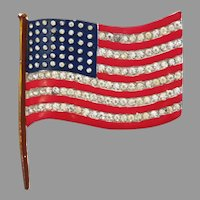 Large 48 Star Patriotic United States flag brooch designed by Alfred Philippe Trifari 1940's