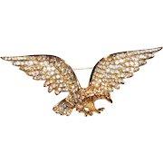 Patriotic sparkly Crystal Rhinestone Eagle Pin Brooch Trifari Company 1990