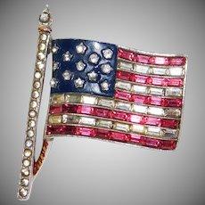 Patriotic Stars & Baguette Stripes US Flag brooch/pin World War II – Alfred Philippe designer Trifari Company 1940