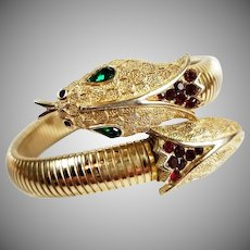 Rare Alfred Philippe Signed Crown Trifari Jeweled Snake Figural Coil Bracelet