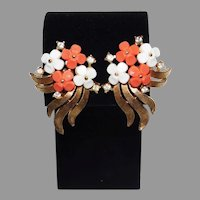 Vintage pair Coral & White Lucite Leaf and rhinestone Clip Style Earrings Trifari Company 1960's