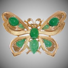 Beautiful Butterfly brooch faux Jade Cabochon stones - Jewels of India series Alfred Philippe for Trifari 1965