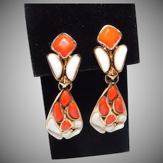 Trifari orange & milk white colored 'Modern Mosaics' Poured Glass Pendant Clip Earrings