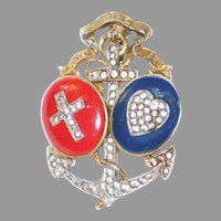 US Patriotic Red White and Blue 'Faith Hope and Charity' Brooch   Alfred Philippe Trifari Company 1940