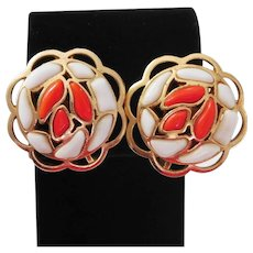 Modern Mosaics series collectible clip style earrings with white & orange colored glass stones designed by Alfred Philippe – 1966 Trifari