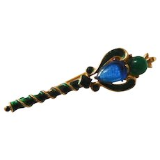 Royal Crowned scepter brooch – green enameling & emerald green and sapphire blue color glass cabochon Trifari Company 1960's