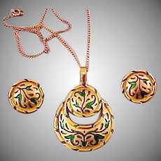 Beautiful Crescent enamel Tulip Pendent & clip style Earring set L'Orient series Trifari Company 1968