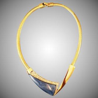Modernist blue Lucite choker necklace designer Kunio Matsumoto Trifari Company 1970's