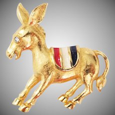 Vintage Patriotic Donkey Brooch Democrat Red White & Blue saddle Trifari Company 1970's
