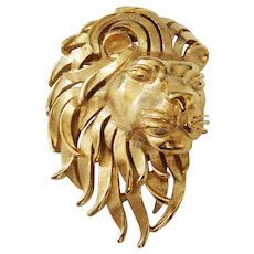 Beautiful gold-plated Lion head brooch - Trifari Company 1960's