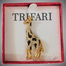 Giraffe Brooch Sparkly Rhinestones and Black Enamel  - Trifari Company 1997