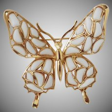 Modern Mosaics Butterfly brooch poured glass milk white designed by Alfred Philippe – 1966 Trifari