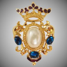 Vintage Pearl Belly Aqua Cabochons - Crown Shield Brooch designer Alfred Philippe Trifari Company 1980's