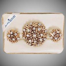 Vintage Foliate design sparkly rhinestone Brooch and Clip style Earrings set Trifari Company 1960's