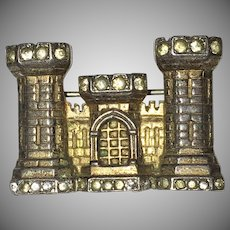 World War II Sterling Sweetheart - Army Corps of Engineers Castle - Brooch Trifari Company 1940's