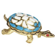 Trifari 'Modern Mosaics' Poured Glass Baby Blue & Milk White Turtle Brooch – designer 'Alfred Philippe' 1966